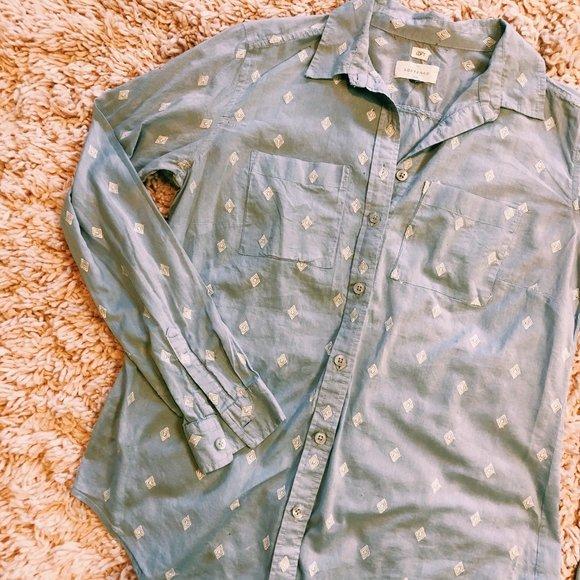 LOFT Tops - Ann Taylor Loft Blue The Softened Shirt Button Up